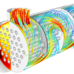 Flow and Temperature field in a Shell & Tube Heat Exchanger
